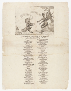 "Isaac Hunt, A Conference Between the Devil and Doctor Dove (Philadelphia, 1764). The Library Company of Philadelphia. Hunt, whom Peter Silver has called a ""one-man pamphlet shop during the Paxton crisis,"" personalized the Paxton debate. In this cartoon, Hunt depicts Dove in a conference with the devil followed by a satirical epitaph that accuses him of sexual immorality."