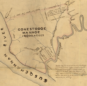 "Jacob Taylor, Survey (Lancaster, 1717). Pennsylvania State Archives. The map is rendered in ink and depicts the borders of ""Conestogoe Mannor, 16000 Acres"" [Conestoga Manor] in 1717. The land is somewhat triangular, bordered by the Susquehannah River [Susquehanna] to the west and southwest and the winding Conestogoe Creek [Conestoga] to the east and southeast. Textual notes on the map mark prominent trees along the property line, Indian Town, and three subdivisions within the Manor. Indian Town is also marked by a drawing of twelve small houses. It is situated in the southern part of the Manor, in the center of the map. The largest of the three subdivided plots is vaguely rectangular and situated along the northeast corner of Conestoga Manor. It reads, ""Andrew Hamilton 1500 [acres]. Returned into ye Secretary's office ye 13th [illegible] 1735. By Warr't [warrant] dated the 10th of the June month."" The two smaller plots are situated on the southern border of the manor between Indian Town and the Conestoga Creek. The western plot reads, ""J. C. 500 acres is but 300."" The eastern plot reads, ""J. L. 500 acres is 400 acres."" There is a short paragraph at the bottom right corner of the map. It reads, ""Isaac Taylor laid out to John Cartlidge 500 [acres] to James Logan 500 [acres] without James's knowledge or order & w'ch [which] he refused to take. But the Proprieties by their Warr't [warrant] require a return of 700 [acres] within the 2 tracts to be made into the secretary's office."""
