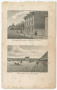 "William Breton, Washington Residence and Philadelphia Barracks (Philadelphia, 1830). The Library Company of Philadelphia. In early-1764, the Lenape and Moravian Indians were relocated to the Philadelphia Barracks in Northern Liberties. That military installation, built to house British troops during the Seven Years' War, appears in the bottom image of this engraving (""British Barracks, Philadelphia"")."