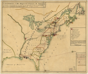 "Daniel Paterson, Cantonment of His Majesty's Forces in N. America (New York, 1766). Library of Congress. Following the Treaty of Paris and the end of the Seven Years' War, the British government issued the Royal Proclamation of 1763, which largely affirmed the territorial boundaries of the Treaty of Easton (1758). This map reflects those boundaries, designating the trans-Appalachian west ""Reserved for the Indians."""