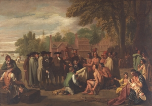 Benjamin West, Penn's Treaty with the Indians (Philadelphia, 1771-72). Pennsylvania Academy of the Fine Arts. In 1770, Thomas Penn commissioned a painting by Benjamin West to celebrate his father's participation in the Treaty of Shackamaxon. This famous painting, later recreated by Edward Hicks in his Peaceable Kingdom series, imagines a scene of Native-Colonial harmony that draws a stark contrast to the violence that had unfolded five years earlier.