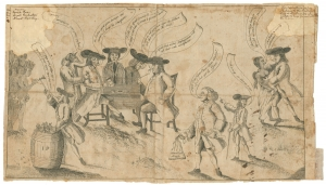 "[James Claypoole], Franklin and the Quakers (Philadelphia, 1764). The Library Company of Philadelphia. Dealings with the Quakers complicated Benjamin Franklin's political career. Franklin appears in the foreground of this etching, holding a sack labeled ""Pennsylvania money."" To the left, the prominent Quaker merchant Abel James distributes tomahawks from a barrel labeled ""I.P."""