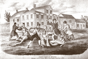 James Wimer, Massacre of the Indians at Lancaster by the Paxton Boys (Lancaster, 1841). The Library Company of Philadelphia. This nineteenth-century lithograph provides one of the most iconic visual representations of the Paxton massacre at the Lancaster workhouse. While Wimer's image captures the brutality of the violence, it does take some liberties. For example, the Paxton murderers are shown in formal Victorian attire, including top hats.