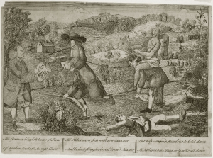 James Claypoole, The German bleeds & bears ye Furs (Philadelphia, 1764). The Library Company of Philadelphia. Claypoole's engraving serves as a visual counterpart to Hugh Williamson's pamphlet Plain Dealer. A Quaker man rides a rifle-wielding Scotch-Irish Presbyterian. He is tethered to a tomahawk-clad Indian, who rides a blind-folded German. Benjamin Franklin stands to the left, clutching the Resolves of the Assembly.