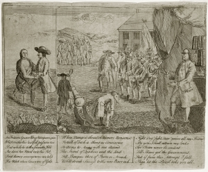 "James Claypoole, An Indian Squaw King Wampum Spies (Philadelphia, 1764). The Library Company of Philadelphia. In this pro-Paxton political cartoon, likely intended to accompany A Battle a Squirt; Where No Man is Kill'd, and No Man is Hurt!, a Quaker merchant identifiable as Israel Pemberton (""King Wampum"") gropes a partially undressed Native woman. Franklin, in his trademark bifocals, watches to the right."